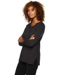 Lark & Ro Premium Viscose Blend Long Sleeve Crewneck Side-slit Sweater - Black