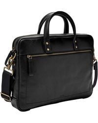 Fossil Haskell Double Zip Leather Workbag Briefcase - Black