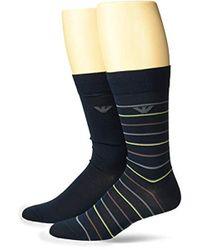 Emporio Armani - Mercerized Striped 2 Pack Short Socks - Lyst