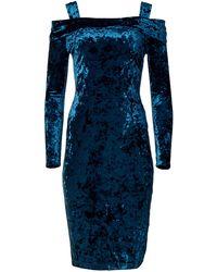 Maggy London Crushed Velvet Sheath With Cold Shoulder Detail - Blue
