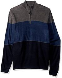 Dockers Big And Tall Quarter Zip Soft Acrylic Color-block Sweater - Blue