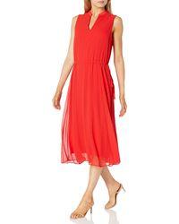 Anne Klein Drawstring Midi Dress - Red