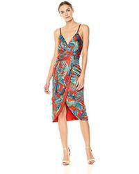 Nicole Miller - Spaghtetti Strap Faux Wrap Dress With Detachable Sash, - Lyst