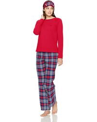 Tommy Hilfiger Top And Flannel Pant Bottom Pajama Set Pj - Red