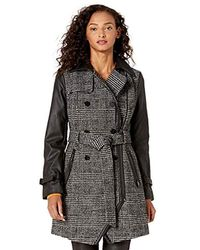 Guess Belted Plaid Wool And Faux Leather Coat - Black