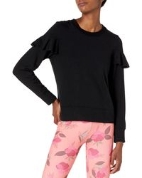 Core 10 Cloud Soft Yoga Fleece Ruffle Sleeve Crew - Black