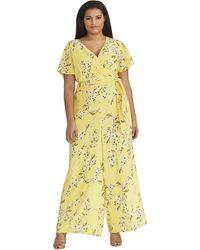 RACHEL Rachel Roy Floral Tie Waist Jumpsuit - Yellow