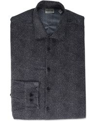 Kenneth Cole Reaction Dress Shirt Extra Slim Fit Stretch Stay-crisp Collar Print - Black