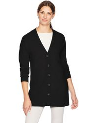 Lark & Ro Sweater Long Sleeve V-neck Cardigan Cashmere Sweater - Black