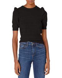 Ella Moss Emilia Ruffle Puffed Short Sleeve Sweater - Black