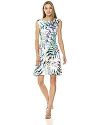 Adrianna Papell - Watercolor Leaves Printed Fit And Flare Dress - Lyst