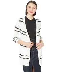 Kensie Slub Knit Striped Cardigan - White