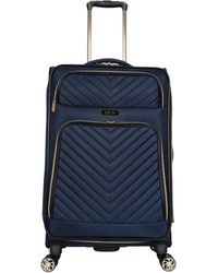 "Kenneth Cole Reaction Chelsea 20"" Softside Chevron Quilted Expandable 4-wheel Spinner Carry-on Suitcase - Blue"