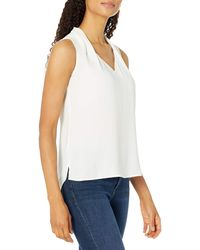 Tahari Petite Sleeveless V-neck Blouse - White
