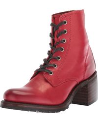 Frye Sabrina 6g Lace Up Combat Boot - Red