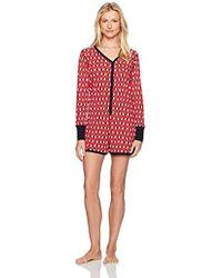 Mae - Sleepwear Thermal Henley Long Sleeve Romper Pajamas - Lyst