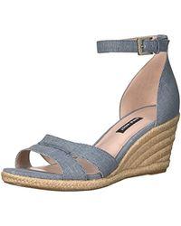 Nine West Jabrina Leather Wedge Sandal - Blue