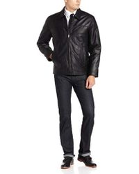 Perry Ellis Open Bottom Leather Jacket - Black
