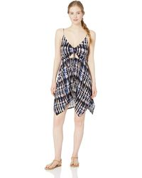 Lucky Brand V-neck Handkerchief Hem Swimwear Cover Up Dress - Purple
