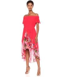 Ted Baker Berry Sundae Bardot Floral Off-the-shoulder Pleated High-low Dress - Red
