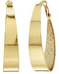 Guess - Large Oval Glitter Hoop Earrings - Lyst