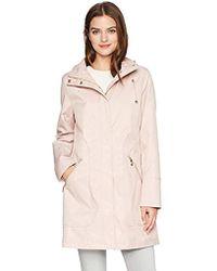 Ivanka Trump Asymmetrical Side Zipper Raincoat - Pink