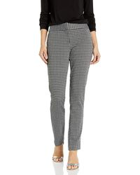 Vince Camuto Classic Check Front Zip Ankle Pant - Black