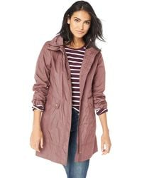 Cole Haan 34 1/2 Single Breasted Rain Jacket With Removable Hood (mauve) Women's Coat - Purple