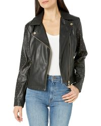 Calvin Klein Moto Jacket With Studded Sleeve - Black