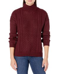 William Rast Mila Cable Pattern Design Pullover Sweater - Red