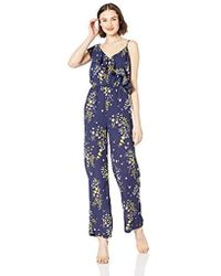 1bdc7c53178b Lyst - ASOS Chambray Jumpsuit With Banded Sides And Culotte Leg in Blue