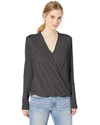 Michael Stars - Brooklyn Jersey Long Sleeve Cross Over V-neck Top - Lyst