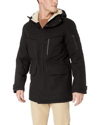 Lacoste Twill Polyester Hooded Artic Parka - Black