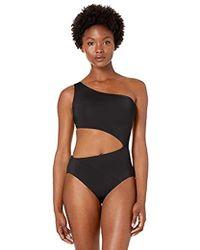 BCBGMAXAZRIA Shoulder Cutout One Piece Solid Color Swimsuit - Black
