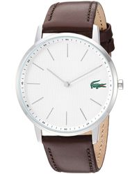Lacoste Stainless Steel Quartz Watch With Leather Strap - Brown