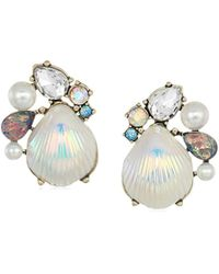 Betsey Johnson - S Seashell And Stone Cluster Stud Earrings - Lyst