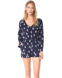 Cupcakes And Cashmere Harley Paisley Pirnted Bell Sleeve Romper - Blue