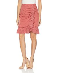 Keepsake All Night Skirt With Lace Ruffle Detail - Pink
