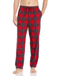 Nautica Cozy Fleece Plaid Pajama Pant Pyjamahose - Rot