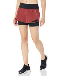 "Core 10 Amazon Brand - Women's (xs-3x) Knit Waistband '2-in-1"" Run Short With Built-in Compression Shorts, -ruby/black, X-large"