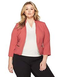 Nine West - Plus Size Kiss Front Bi Stretch Jacket With Zip Pockets - Lyst