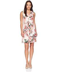 Calvin Klein - Petite Sleeveless V-neck Dress With Self Tie Waist - Lyst