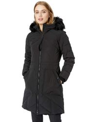 Guess Knee Length Heavy Puffer Coat With Faux Fur Trimmed Hood - Black