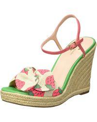 Kate Spade Janae Wedge Sandal, Multicolor Strawberry Print, 10.5 Medium Us