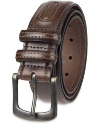 Columbia Trinity Logo Belt-casual Dress With Single Prong Buckle For Jeans Khakis - Brown