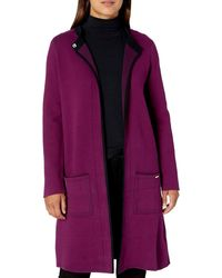 Nine West Double Face Sweater Coat With Patch Pockets - Purple