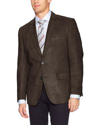 G.H.BASS Classic Fit Poly Suede Blazer Sportcoat - Brown