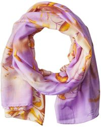 La Fiorentina Abstract Floral Print Scarf With Swirls - Multicolor