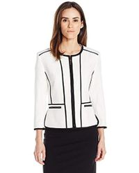 Kasper Jewel Neck Crepe Fly Away Jacket With Black Piping Detail