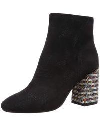 Betsey Johnson Barrette Suede Rhinestone Embellished Block Heel Booties - Black
